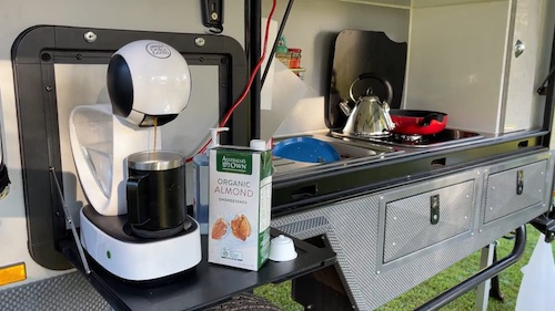 Coffee Machine while Camping, my inverter change over switch even runs the air conditioner.